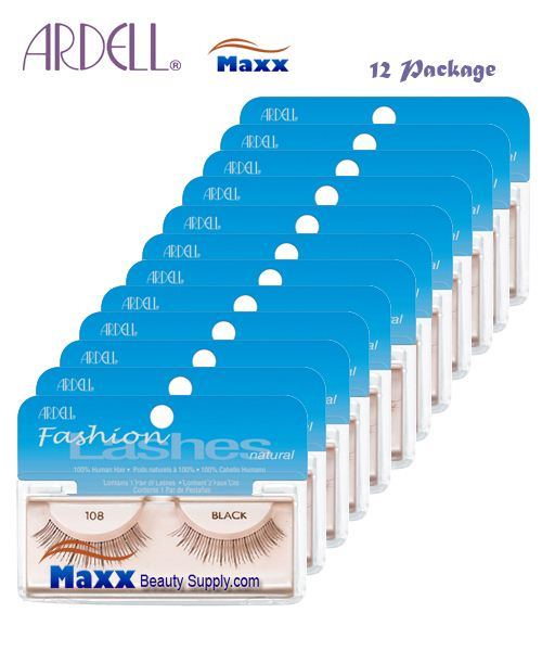 12 Package - Ardell Fashion Lashes Eye Lashes 108 - Black