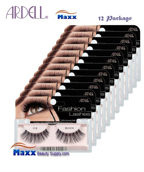 12 Package - Ardell Fashion Lashes Eye Lashes 113 - Black
