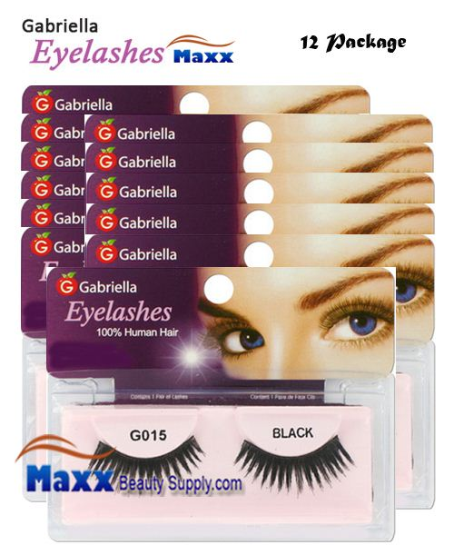 12 Package - Gabriella Eyelashes Strip 100% Human Hair - G015