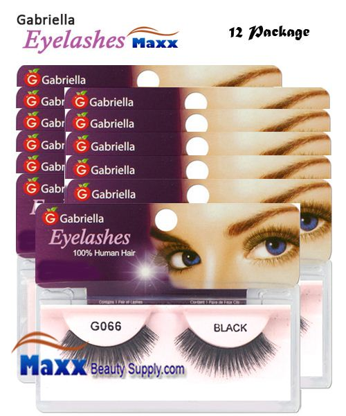 12 Package - Gabriella Eyelashes Strip 100% Human Hair - G066