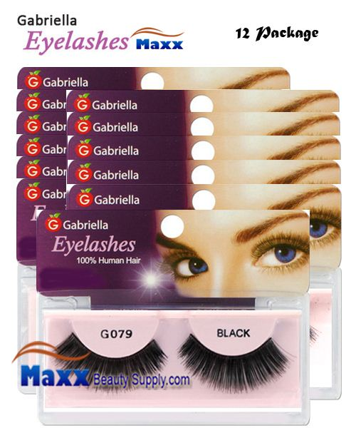 12 Package - Gabriella Eyelashes Strip 100% Human Hair - G079