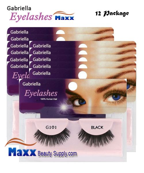 12 Package - Gabriella Eyelashes Strip 100% Human Hair - G101