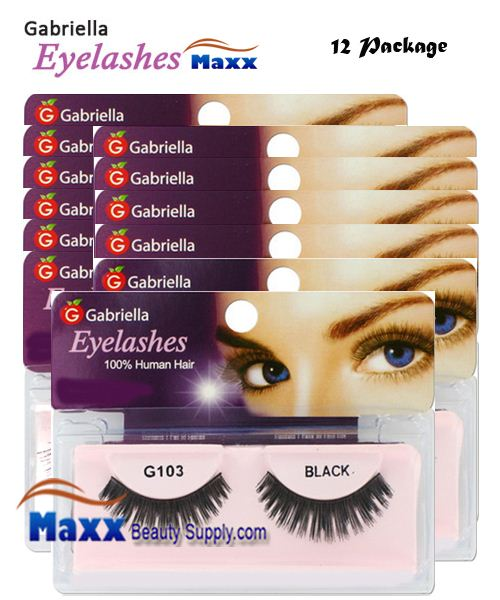 12 Package - Gabriella Eyelashes Strip 100% Human Hair - G103