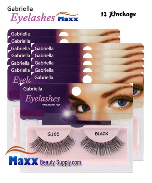 12 Package - Gabriella Eyelashes Strip 100% Human Hair - G105