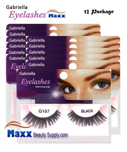 12 Package - Gabriella Eyelashes Strip 100% Human Hair - G107