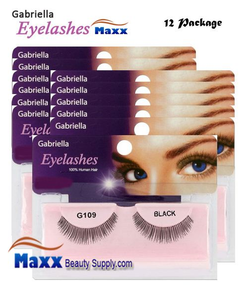 12 Package - Gabriella Eyelashes Strip 100% Human Hair - G109