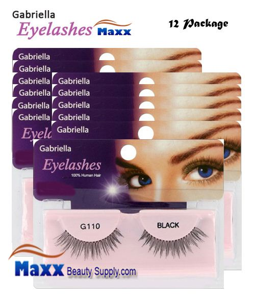 12 Package - Gabriella Eyelashes Strip 100% Human Hair - G110