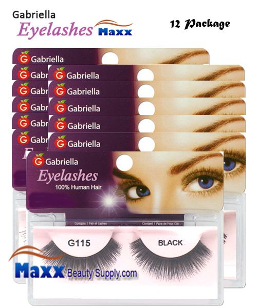 12 Package - Gabriella Eyelashes Strip 100% Human Hair - G115