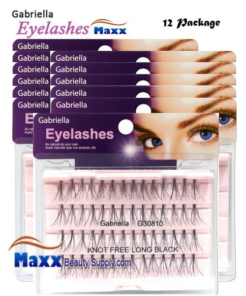 12 Package - Gabriella Eyelashes Individual Flare 100% Human Hair - Long Black Knot Free