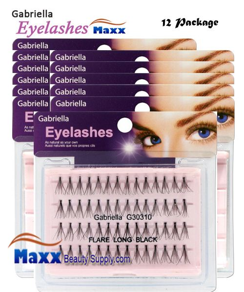 12 Package - Gabriella Eyelashes Individual Flare 100% Human Hair - Long Black