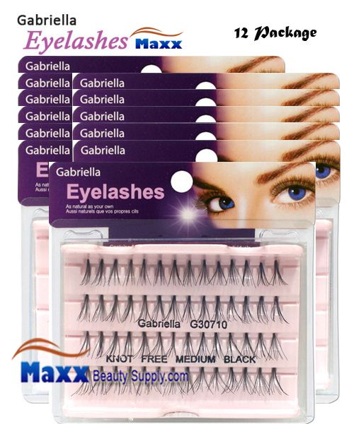 12 Package - Gabriella Eyelashes Individual Flare 100% Human Hair - Medium Black Knot Free