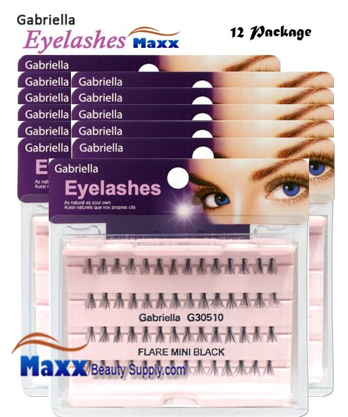 12 Package - Gabriella Eyelashes Individual Flare 100% Human Hair - Mini Black