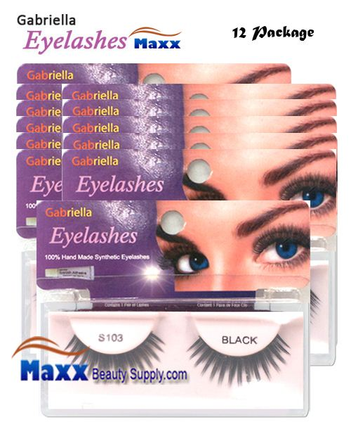 12 Package - Gabriella Eyelashes Strip Synthetic Hair - S103