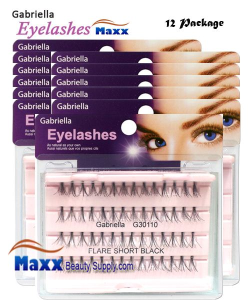 12 Package - Gabriella Eyelashes Individual Flare 100% Human Hair - Short Black Knot Free