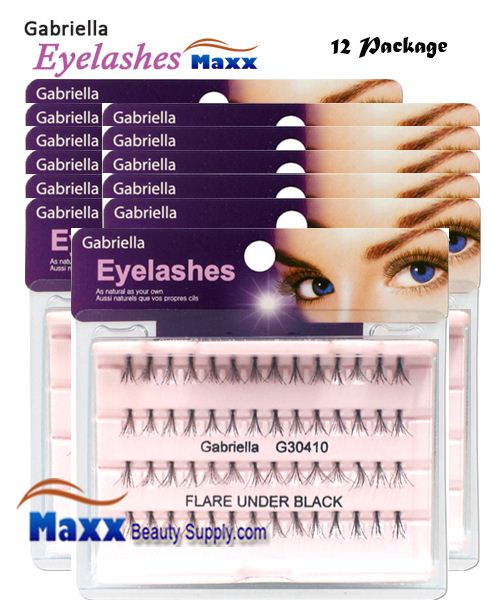 12 Package - Gabriella Eyelashes Individual Flare 100% Human Hair - Under Black