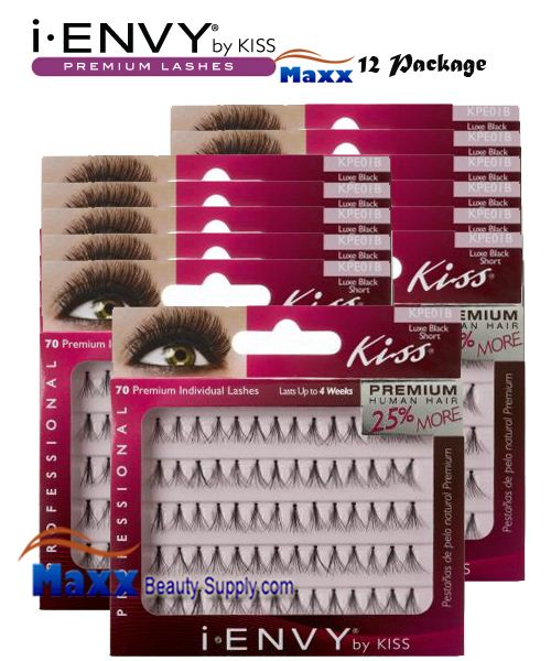 12 Package - Kiss i Envy Individual Eyelashes - KPE01B - Luxe Short Black
