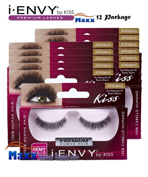 12 Package - Kiss i Envy Au Naturale 01 Eyelashes - KPE08XS - Extra Short