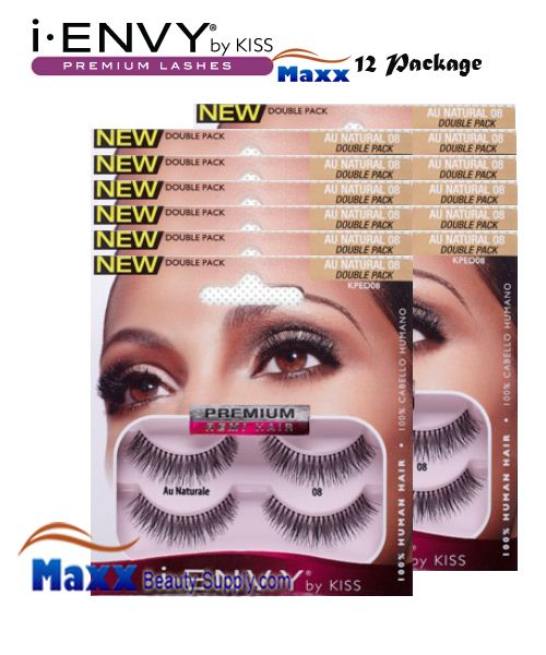 12 Package - Kiss i Envy Double Pack Au Naturale 08 Eyelashes - KPED08