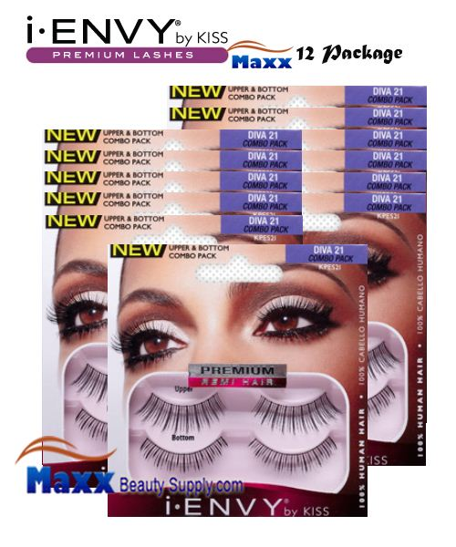 12 Package - Kiss i Envy Double Pack Diva 21 Eyelashes - KPES21