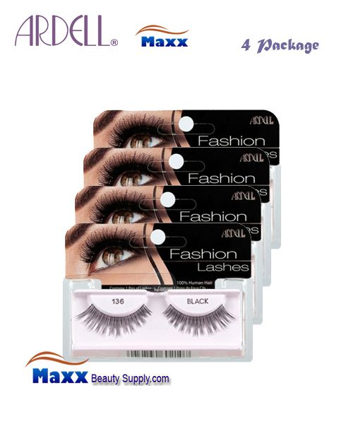 4 Package - Ardell Fashion Lashes Eye Lashes 136 - Black