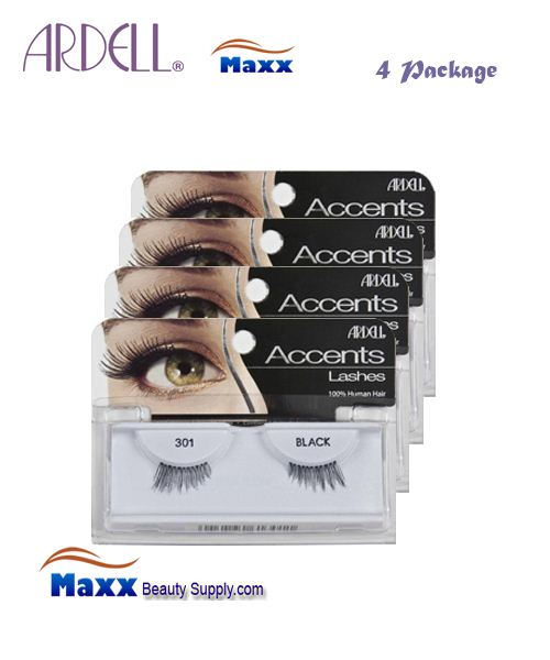 4 Package - Ardell Fashion Lashes Eye Lashes 301 - Black