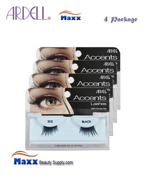 4 Package - Ardell Fashion Lashes Eye Lashes 305 - Black