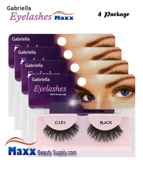 4 Package - Gabriella Eyelashes Strip 100% Human Hair - G101