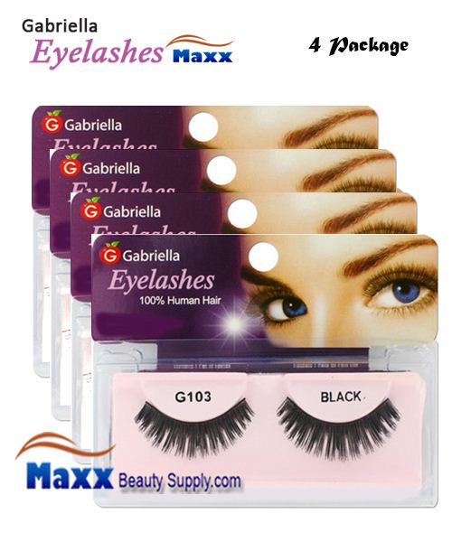 4 Package - Gabriella Eyelashes Strip 100% Human Hair - G103
