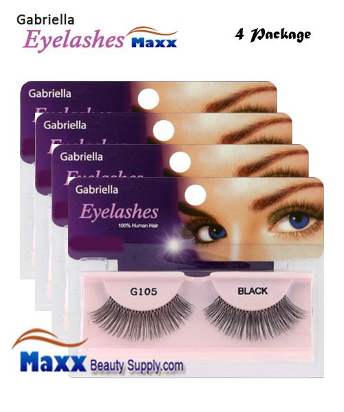 4 Package - Gabriella Eyelashes Strip 100% Human Hair - G105