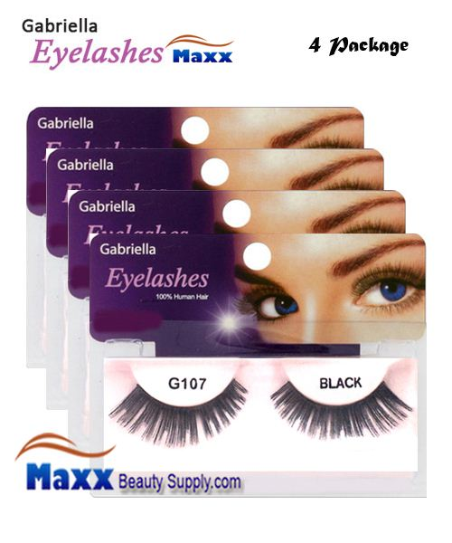 4 Package - Gabriella Eyelashes Strip 100% Human Hair - G107