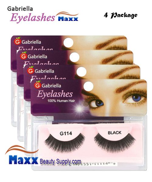 4 Package - Gabriella Eyelashes Strip 100% Human Hair - G114