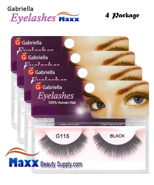 4 Package - Gabriella Eyelashes Strip 100% Human Hair - G115