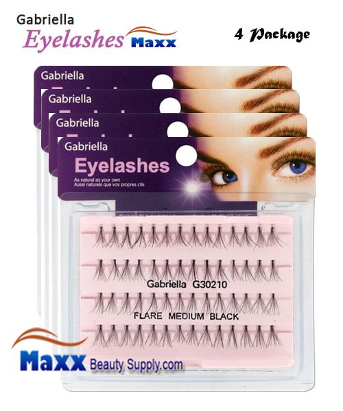 4 Package - Gabriella Eyelashes Individual Flare 100% Human Hair - Medium(Black, Brown)