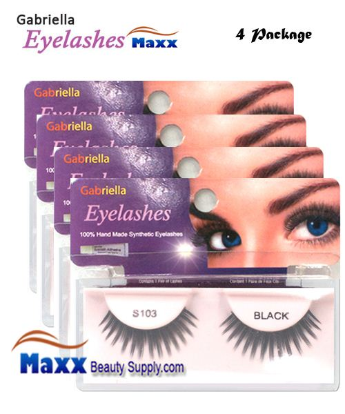 4 Package - Gabriella Eyelashes Strip Synthetic Hair - S103