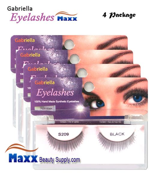 4 Package - Gabriella Eyelashes Strip Synthetic Hair - S209