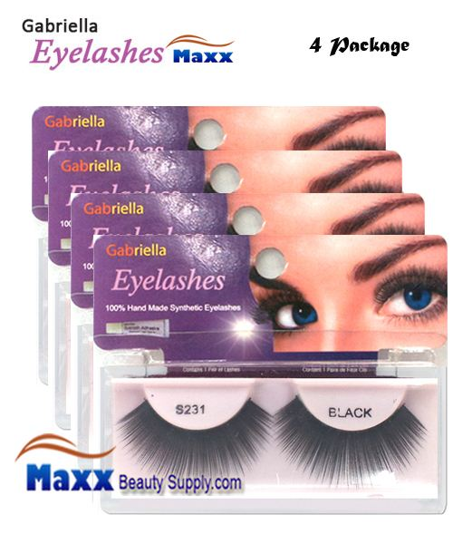 4 Package - Gabriella Eyelashes Strip Synthetic Hair - S231