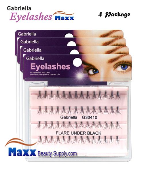 4 Package - Gabriella Eyelashes Individual Flare 100% Human Hair - Under Black