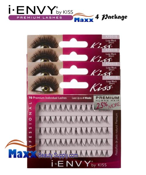 4 Package - Kiss i Envy Individual Eyelashes - KPE01B - Luxe Short Black