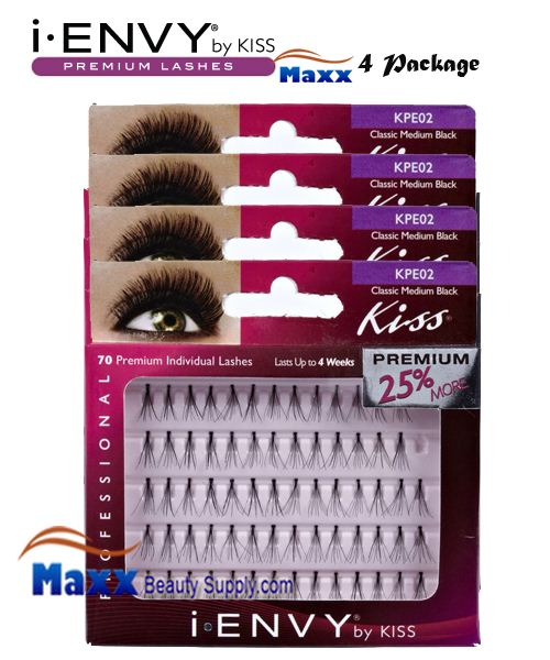 4 Package - Kiss i Envy Individual Eyelashes - KPE02 - Classic Flare Medium Black
