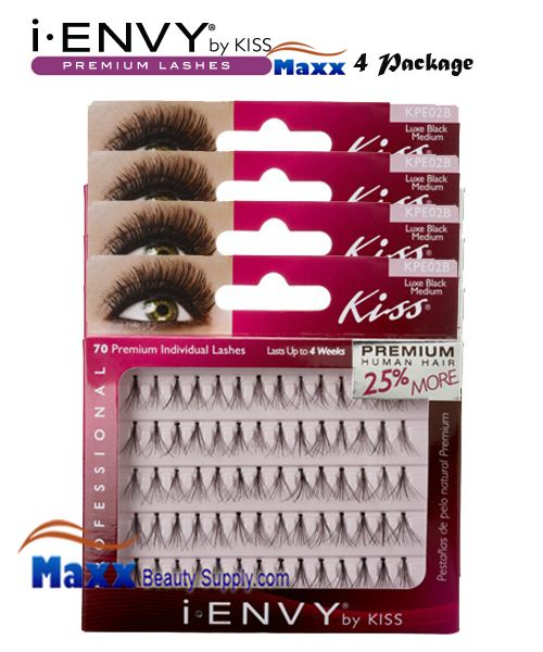 4 Package - Kiss i Envy Individual Eyelashes - KPE02B - Luxe Medium Black