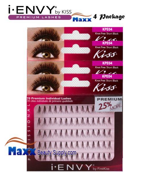 4 Package - Kiss i Envy Individual Eyelashes - KPE04 - Knot Free Short Black