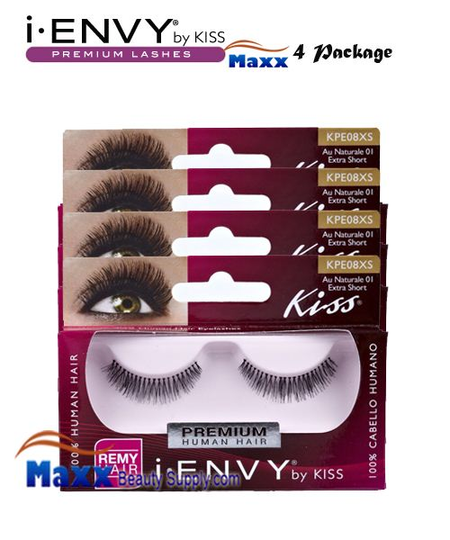 4 Package - Kiss i Envy Au Naturale 01 Eyelashes - KPE08XS - Extra Short