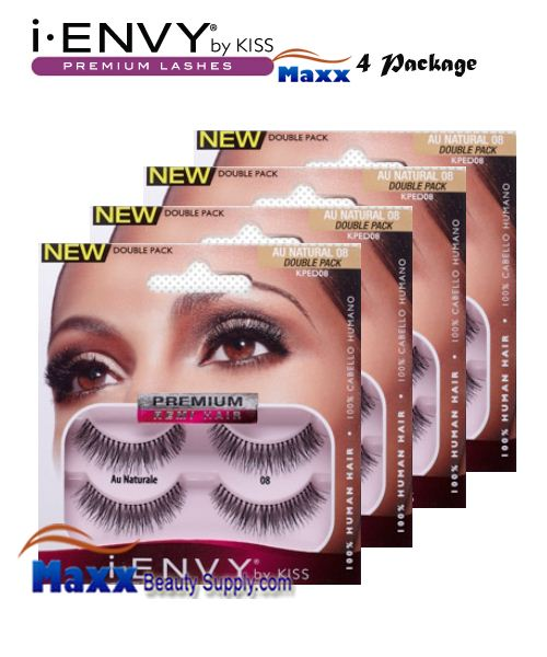 4 Package - Kiss i Envy Double Pack Au Naturale 08 Eyelashes - KPED08
