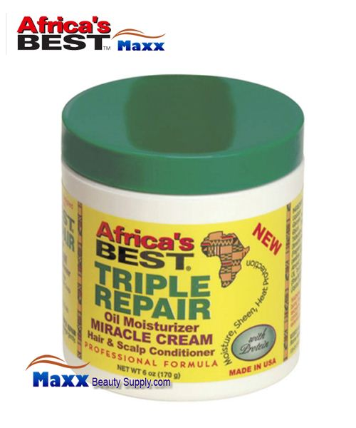 Africa's Best Triple Repair Oil Moisturizer Miracle Cream Hair & Scalp Conditioner 6oz