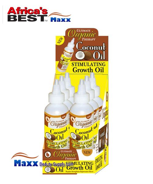 Africa's Best Ultimate Organics Therapy Stimulating Growth Oil 4oz - Coconut Oil - 1 Display(6pc)
