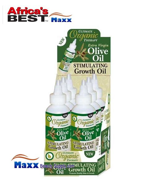 Africa's Best Ultimate Organics Therapy Stimulating Growth Oil 4oz - Olive Oil - 1 Display(6pc)
