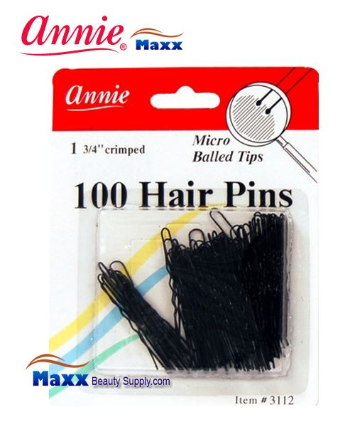 "Annie Pin 3112 100 Hair Pins 1 3/4"" 100ct Microball Tips - Black"