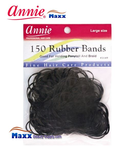 Annie Band 3149 150 Rubber Bands 150ct Large - Black