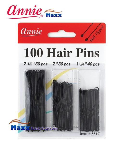 Annie Pin 3317 100 Hair Pins 100ct Big Ball Tips - Assort Size