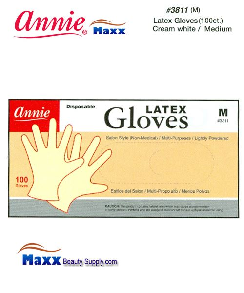 Annie Latax Gloves(100 ct) Cream White 3811 - Medium